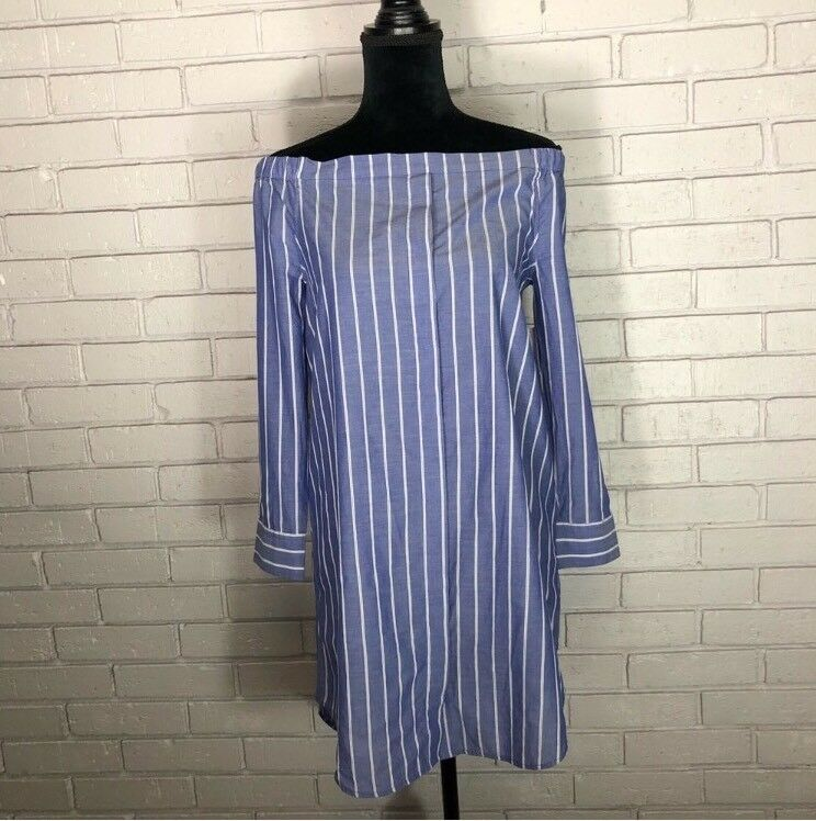 Equipment bluee And White Striped Women's Gretchen Dress Size XS