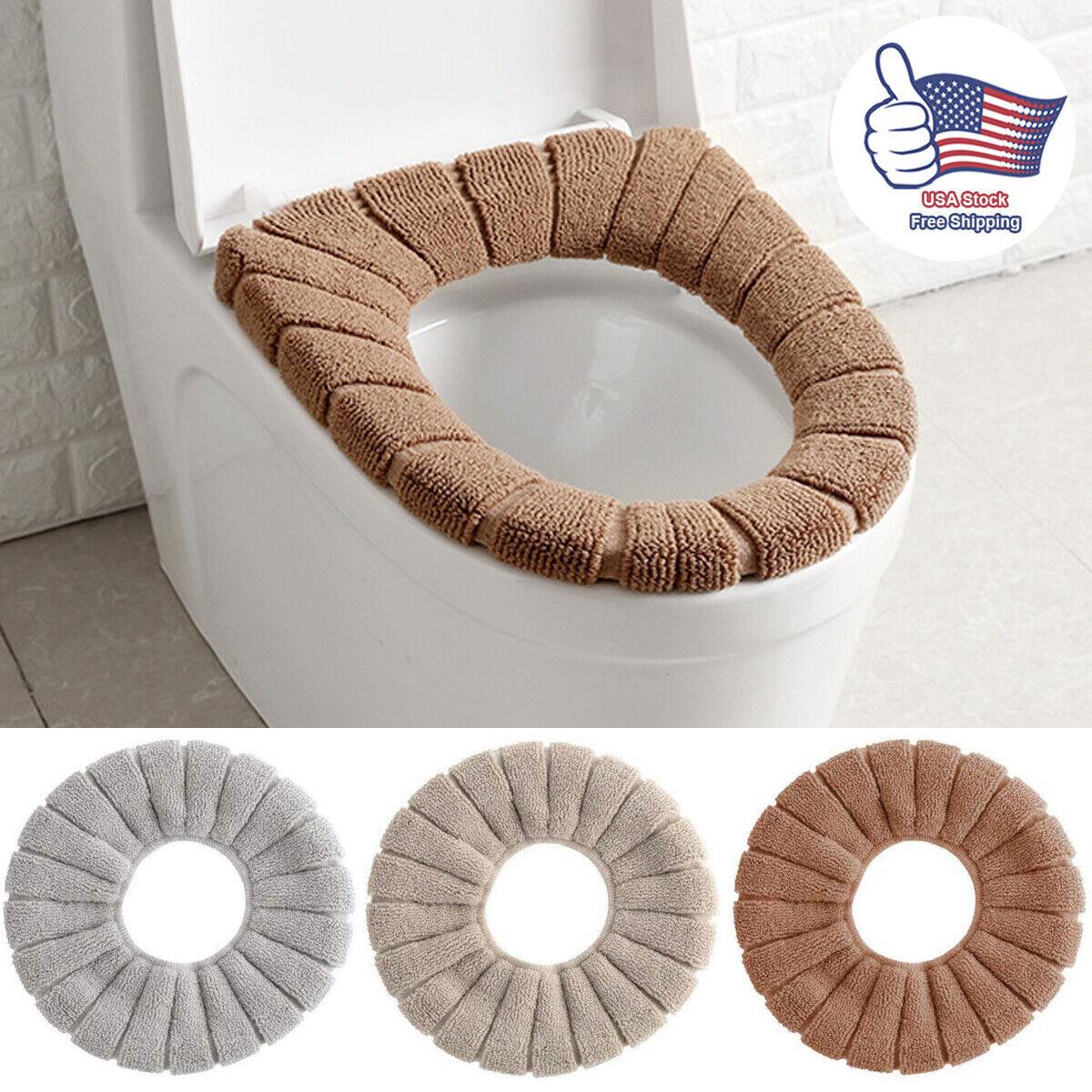 Warm Toilet Seat Cover Soft Plush Bathroom Closestool Pad Winter Velvet Seat