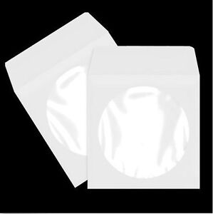 100 pack white paper dvd cd sleeve envelope with clear for 100 paper cd sleeves with window flap