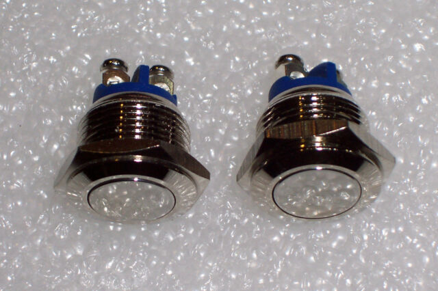 2 PCS 16 MM FLUSH TOP MOMENTARY STAINLESS STEEL METAL PUSHBUTTON SWITCHES