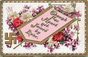 1910-Swastika-Though-Far-Apart-Yet-Joined-by-Love-Good-Luck-Embossed-Postcard-BU