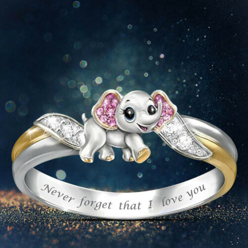 Never Forget I Love You Pink Zircon Elephant Ring Anniversary Engagement Rings