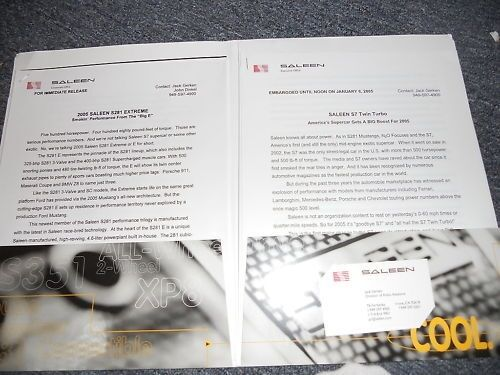 2005 FORD MUSTANG SALEEN S281 3-VALVE SC S7 N20 FOCUS PRESS KIT W CD AND PAPERWO