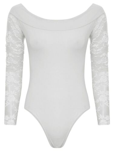 New Ladies Off Shoulder Leotard Bodysuit 8-14