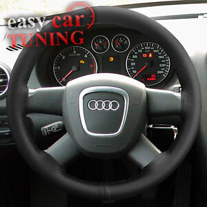 FOR-AUDI-A3-8P-2003-2013-BLACK-REAL-GENUINE-LEATHER-STEERING-WHEEL-COVER-GLOVE
