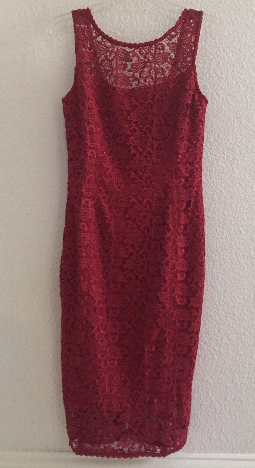 Weiß House schwarz Market Größe 10 rot Rosa Sleeveless Lace  Sheath Dress