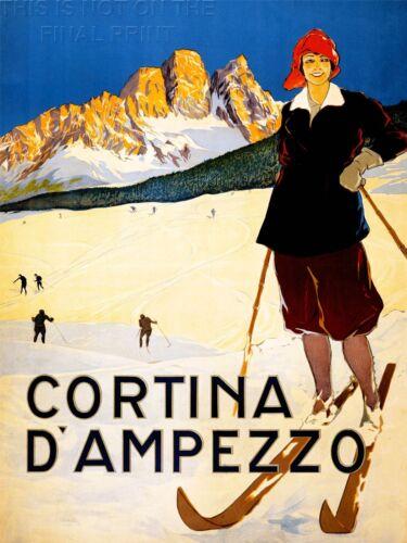 PRINT TRAVEL TOURISM WINTER SPORT CORTINA ALPINE RESORT SKI SNOW ITALY NOFL1271