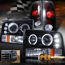 Shiny Black 99-04 Ford F250 Super-Duty Halo Projector LED Headlight + Tail Light