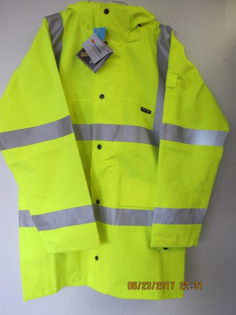 NIELSEN CLOTHING HI-VISABILITY YELLOW RAIN COAT, GORE-TEX, 3M SCOTCHLITE, LARGE