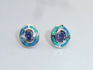 Ladies-Art-Deco-Sterling-925-Fine-Silver-Opal-amp-Tanzanite-Target-Design-Earrings