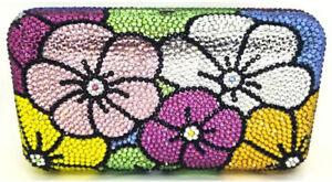 con de mano hecho Monedero W con cristales a Bolso flores Ramo Swarovski SO5nqA
