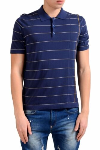 Malo Men/'s Blue Striped Knitted Short Sleeve Polo Shirt Size S M L XL