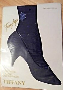 2-x-ONE-SIZE-FANCYLEGS-PANTYHOSE-BY-TIFFANY-BLACK-WITH-SPARKLE-BLUE-LEAVES-BNIP