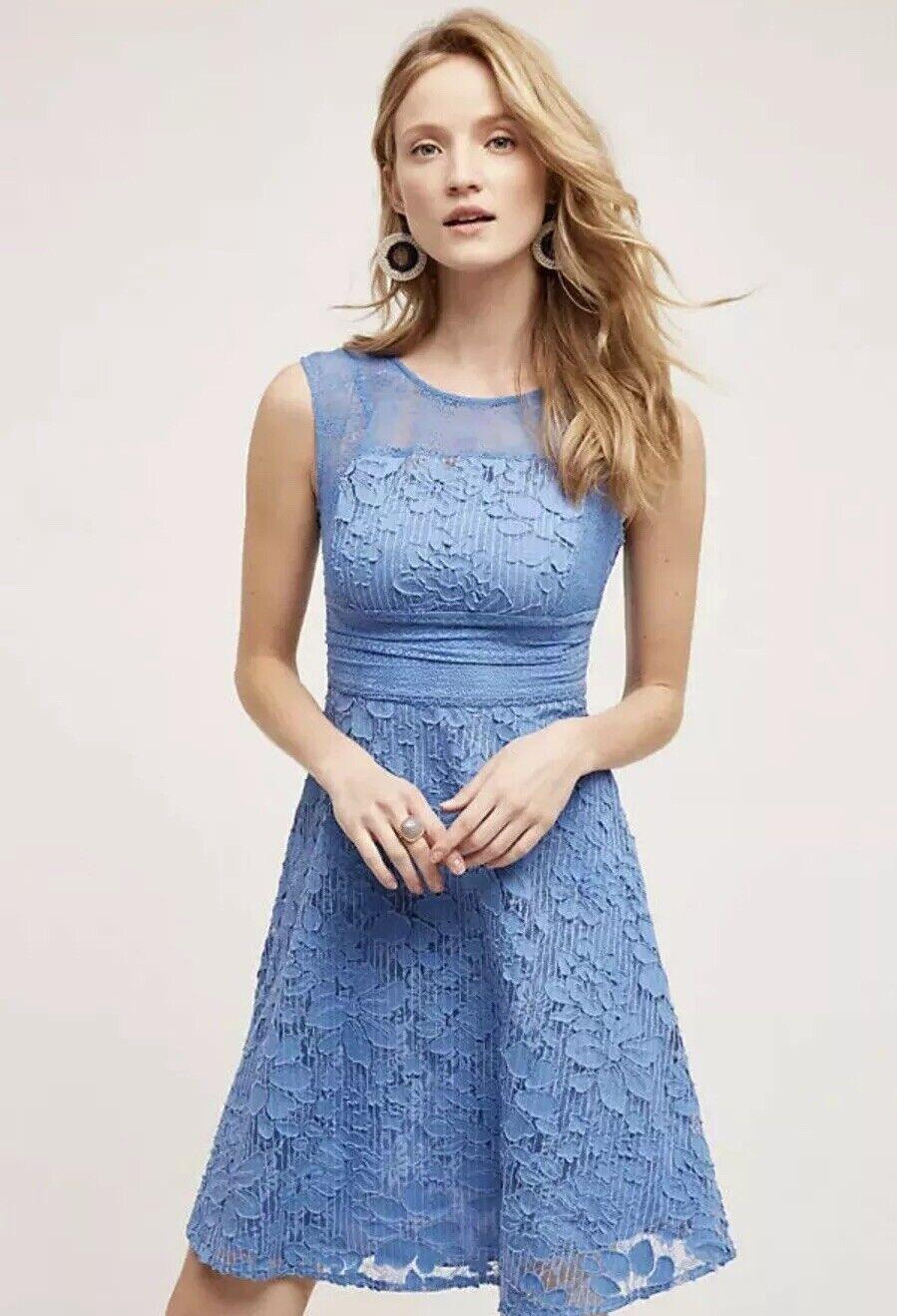 Anthropologie Liliflora Dress By Moulinette Soeurs  bluee Lace Size Sz 4