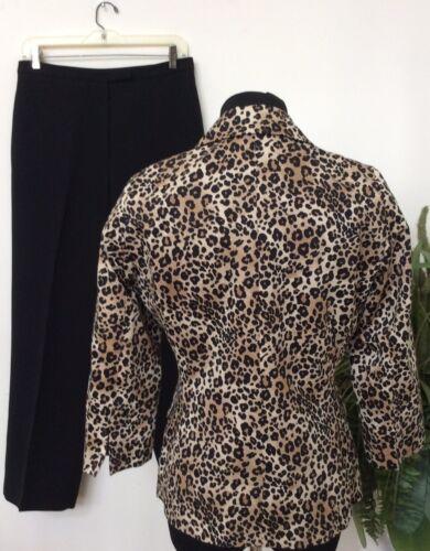 2 Print Leopard 6 Donna Le Suit Taglia pezzi Carriera Marrone Pantalone Euc Nero PqIP8tw
