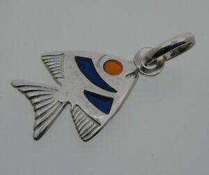 Sterling-Silver-Fish-Pendant-Charm-Plique-du-jour-Sea-Colour-Panels-Orange-Blue