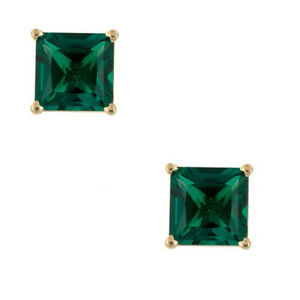 14K Solid Yellow Gold Green Emerald Round Shape Stud Earring Screw Back All Size