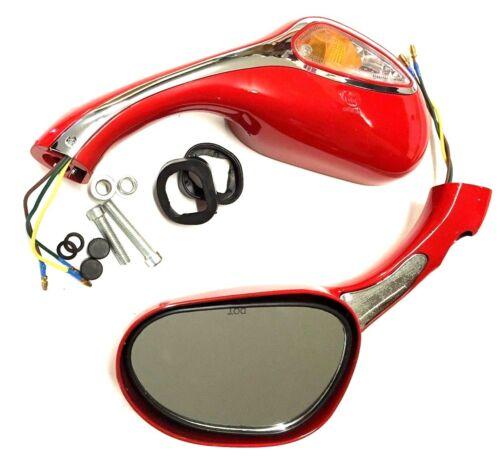 Nouveau rouge cyclomoteur scooter miroirs avec construit dans les clignotants filetage 8 mm