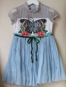 Gucci Harrods Exclusive Baby Girls Blue Silk Chiffon Butterfly Dress