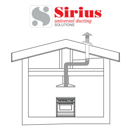 Sirius 150mm Roof Ducting Kit for Kitchen Range Hood Metal or Tiled Roof