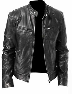 1f9a67e67fb MEN S CAFE RACER BLACK   BROWN BIKER LEATHER JACKET SLIM FIT RETRO ...