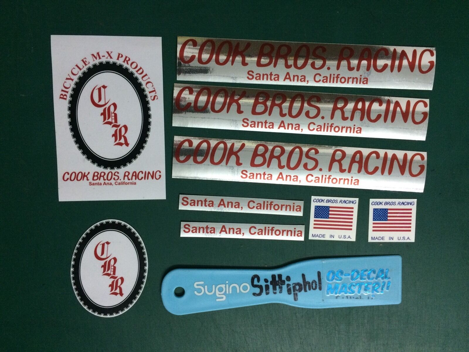 Red Cook Bros Racing Old School BMX decal CBR PK RIPPER GJS