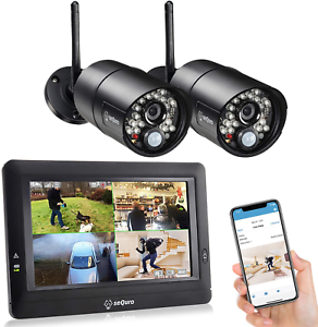 SEQURO GuardPro Wireless Security Camera System with 7 Inch Monitor Outdoor HD