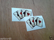 FOUR ACES Playing Cards Hot Rod Vintage Helmet Car Stickers Decals 2 off 90mm