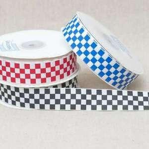 Chequered-Grosgrain-Ribbon-Check-Flag-Black-Blue-Red-15mm-25mm-Various-Lengths
