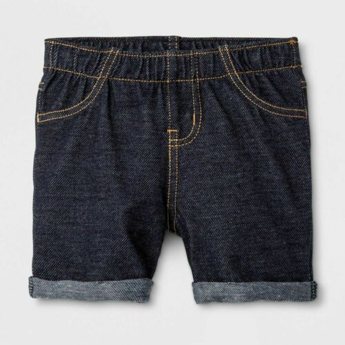 Cat /& Jack Faux Dark Denim Toddler Girls/' Knit Shorts 18M 2T 4T 5T #24L