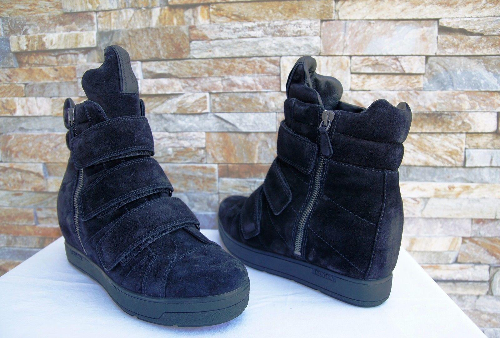 PRADA PRADA PRADA Gr 35 Stiefeletten Stiefelies Schuhe 3TZ035 Velours schwarz neu ehem   722b78