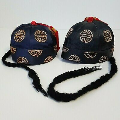 79735eb48 Oriental Hat with Braid Black Blue Red Gold Embroidery Chinese Lot 2 Size 7  | eBay