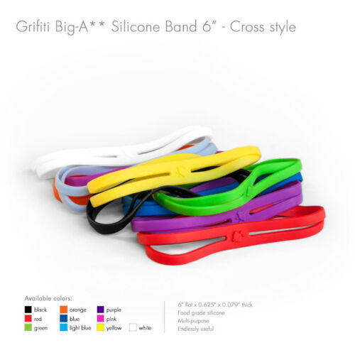 """Grifiti Band Joes X Cross Style 6/"""" 20 Pack Silicone Replace Rubber Elastic"""