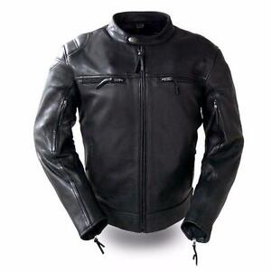 c252b3748 Details about FMC Mens Leather Motorcycle Scooter Jacket FIM288CHRZ