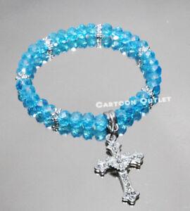 12 baptism bracelet bautizo recuerdos quinceanera cross blue crystal