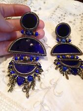 Vintage Long 1960 s Blue Roman Glass Chanelier Bronze Clip On Earrings