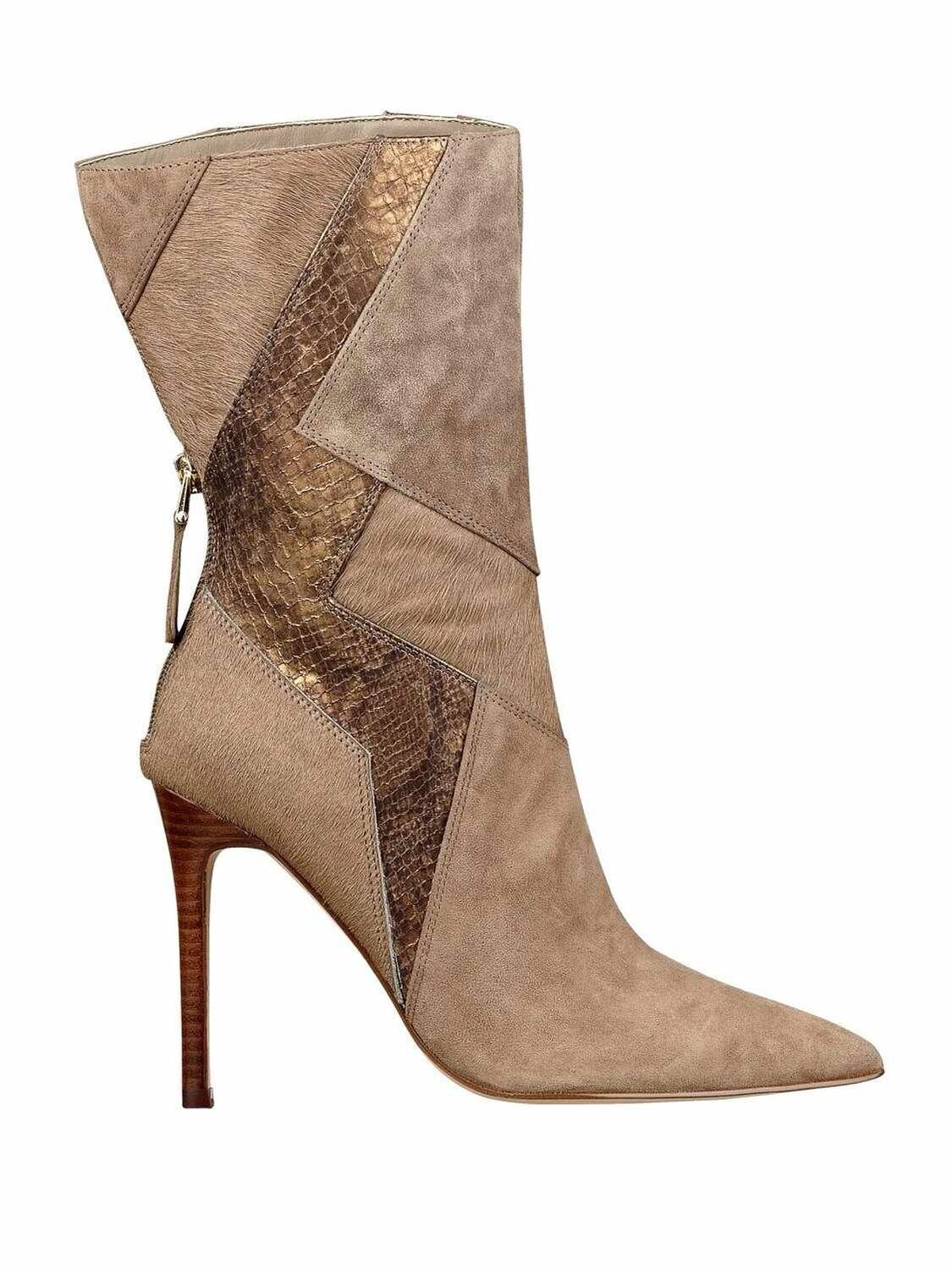 $249 GUESS NYXA MID CALF POINTED TOE BOOTIES HIGH HEELS GENUINE SUEDED SIZE 6