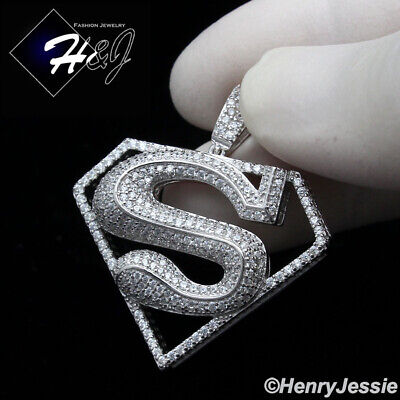 MEN 925 STERLING SILVER LAB DIAMOND ICED OUT BLING SUPERMAN CHARM PENDANT*SP152