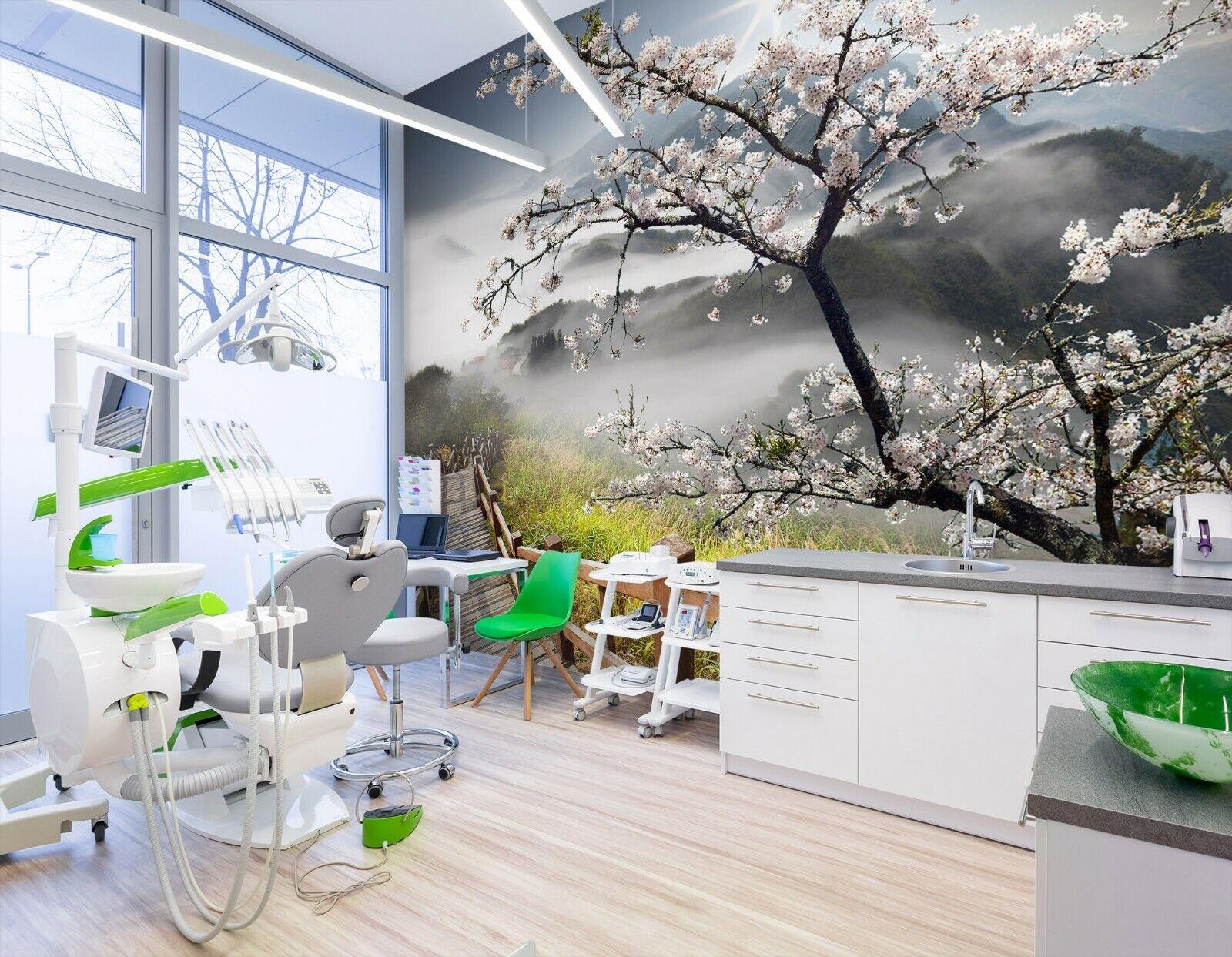 3D Pflaumenblüte Berg M64 Geschäft Tapete Wandgemälde Selbstklebend Handel An