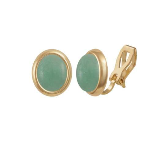 Minuet Chinese Amazonite Gold Tone Stud Clip On Earrings