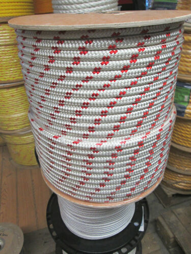 """1//2/"""" X 50/' Halyard sail line polyester double braid 8500 USA White//Red Tracer"""