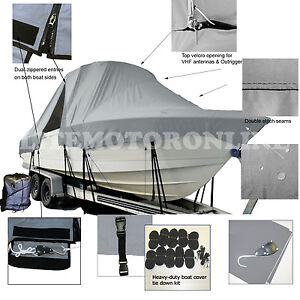 Wahoo 1750 17/' Center Console Trailerable Fishing Boat Cover grey