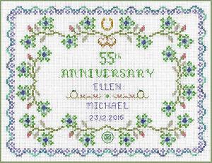 Emerald-Wedding-Anniversary-Sampler-Cross-Stitch-Kit-on-14-aida-COLOUR-chart