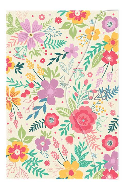 Cream A6 2018 Day A Page Ditsy Flower Design Organiser with Magnetic Closure
