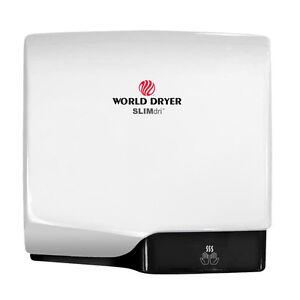 World Dryer SlimDri L-974 Automatic Hand Dryer, White Aluminum SteriTouch Cover