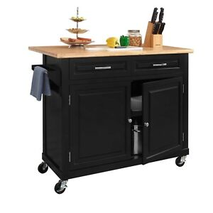 Details About Black Kitchen Island Wood Top Drop Leaf Rolling Wheels Snap Together Assembly