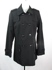 Calvin Klein Women's Black Double Breasted W/ Gun Flaps Trench Coat Size M