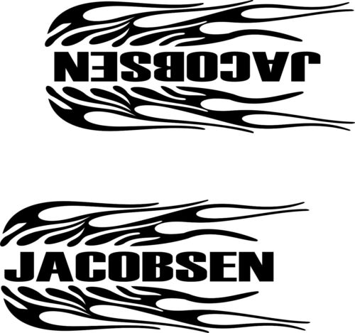 """JACOBSEN FLAMING  DECALS STICKERS  BLACK  3 3//4/"""" X 9/""""  1 L /& 1 R"""