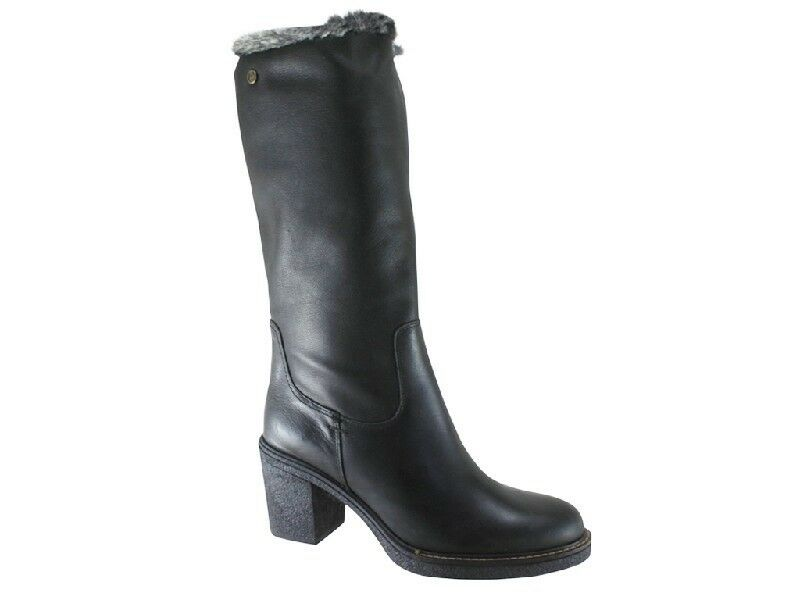 New Carmela 65947 Black Leather Knee High Fur Lined Boots