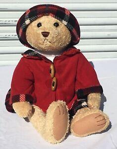 Walmart Girl Teddy Bear in Red Fleece Winter Coat Plaid Skirt Hat ... 447eb9dc9b7